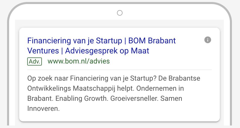 Google advertentie voorbeeld BOM think-fase