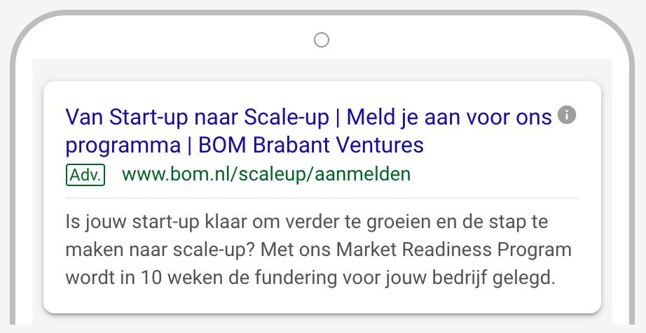 Google advertentie voorbeeld BOM do-fase