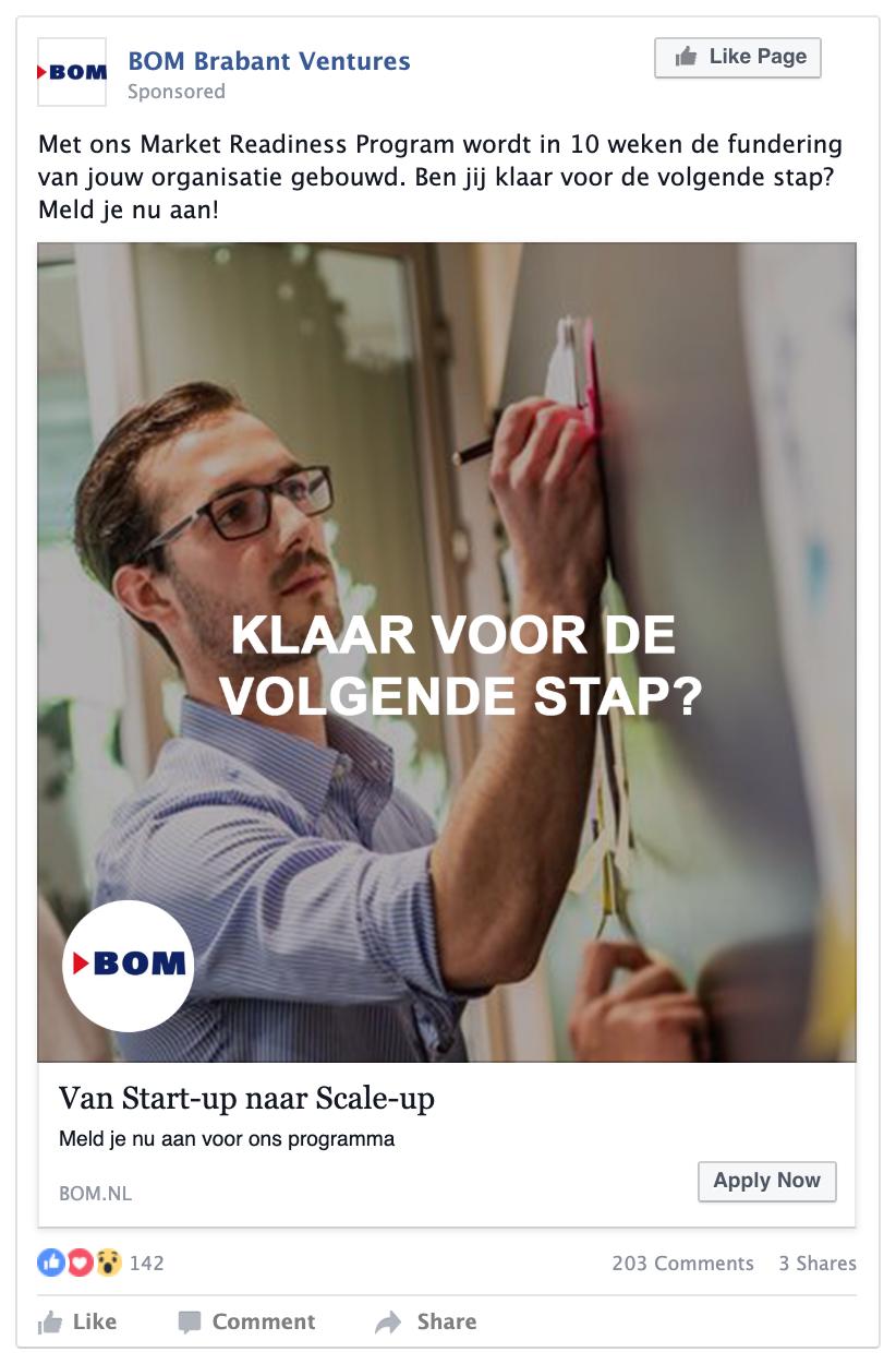Facebook advertentie voorbeeld BOM do-fase
