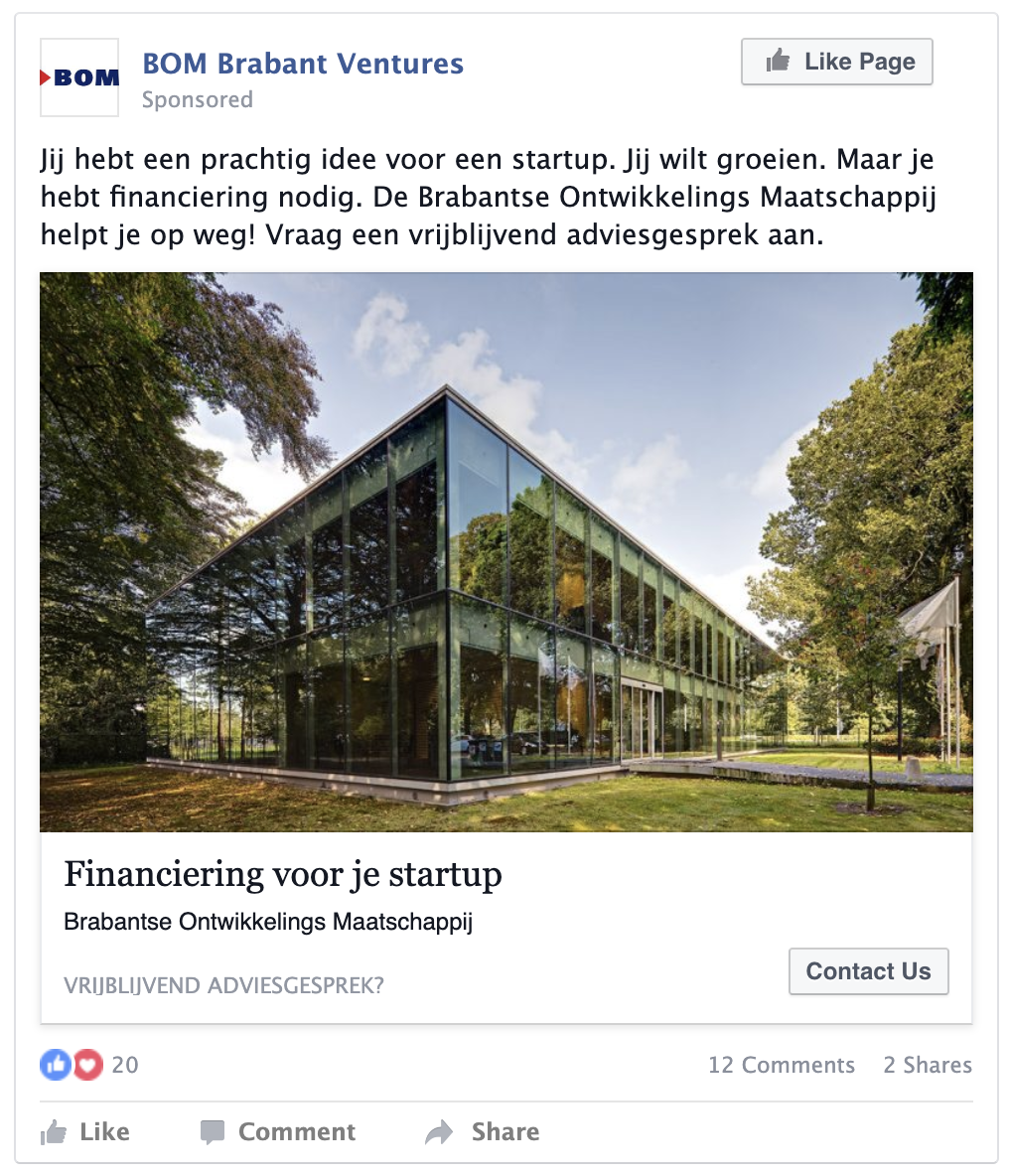 Facebook advertentie voorbeeld BOM think-fase